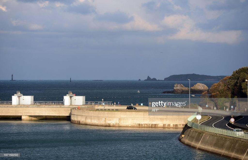 A photo taken on November 28, 2012 shows the external part of the La Rance tidal-turbine power plant in La Richardais, western France.