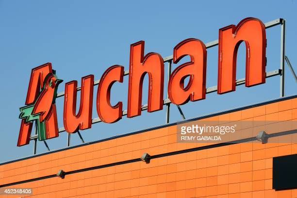 Photo taken on November 28 2013 shows the sign of the Auchan supermarket in Toulouse southern France AFP PHOTO / REMY GABALDA