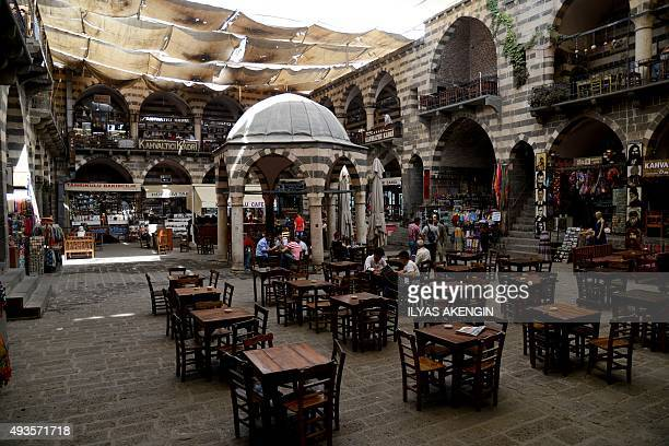 A photo taken on October 1 2015 shows a general view of the Hasan Pasa caravansary in Diyarbakir Just a few months ago the Hasan Pasa caravansary in...