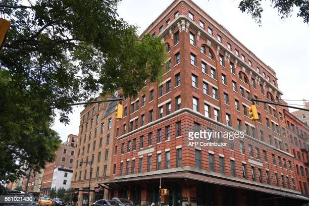 A photo taken on October 13 2017 shows a view of The Weinstein Company headquarters in Tribeca New York City The Weinstein Company is exploring a...
