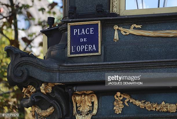 A photo taken on October 3 2016 shows a sign on the Place de l'Opera in Paris / AFP / JACQUES DEMARTHON