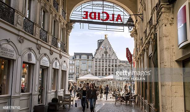 A photo taken on October 30 2014 shows a street leading on to the main square of the northern French city of Lille the Grand Place AFP PHOTO /...