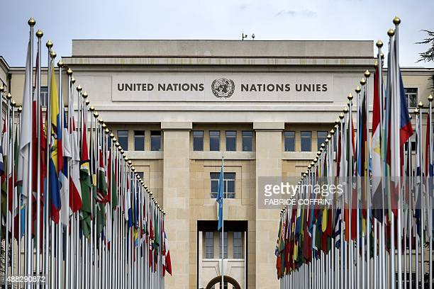 A photo taken on September 15 2015 shows flags lining the front lawn of the 'Palais des Nations' which houses the United Nations Office in Geneva AFP...