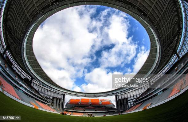 TOPSHOT A photo taken on September 18 2017 shows a view of the stands and the pitch of the Yekaterinburg Arena in Yekaterinburg Yekaterinburg Arena...