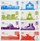 A photo taken on September 20 2012 shows different napo bills the new currency of the City of Naples Napo bills are to be printed next month to...