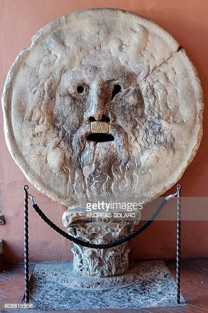A photo taken on September 20 2016 shows the Bocca della Verita an ancient Roman marble disc with a relief carving of a man's face in downtown Rome /...