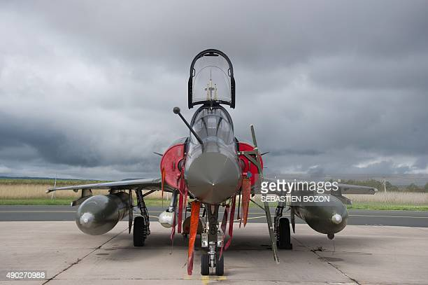 A photo taken on September 25 2015 shows a Dassault Mirage 2000D jet fighter at the Nancy Air Base in ThuilleyauxGroseilles during a military...
