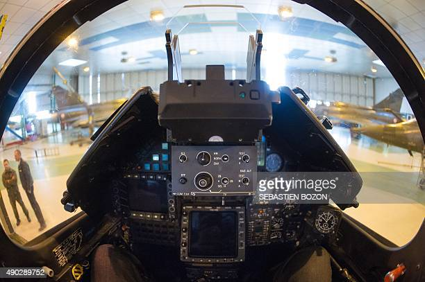 A photo taken on September 25 2015 shows the cockpit of a Dassault Mirage 2000D jet fighter at the Nancy Air Base in ThuilleyauxGroseilles during a...