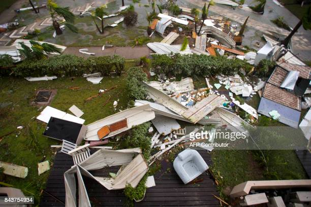 A photo taken on September 6 2017 shows damage outside the 'Mercure' hotel in Marigot on the Bay of Nettle on the island of SaintMartin in the...