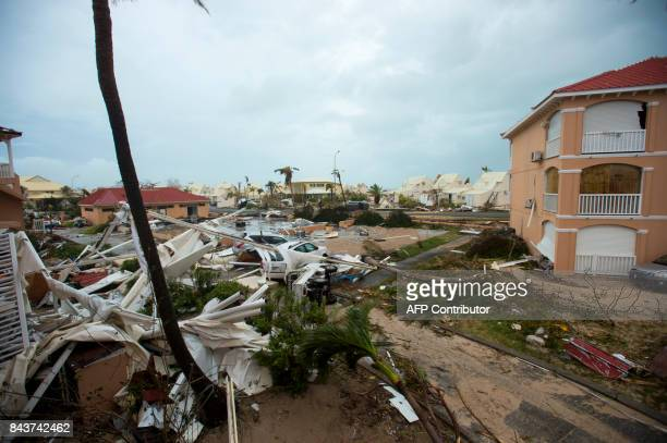 A photo taken on September 6 2017 shows debris and damaged buildings in Marigot near the Bay of Nettle on the French Collectivity of Saint Martin...