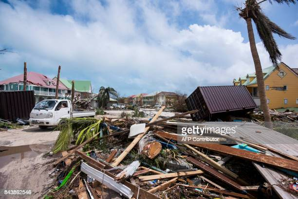 A photo taken on September 7 2017 shows damage in Orient Bay on the French Carribean island of SaintMartin after the passage of Hurricane Irma France...