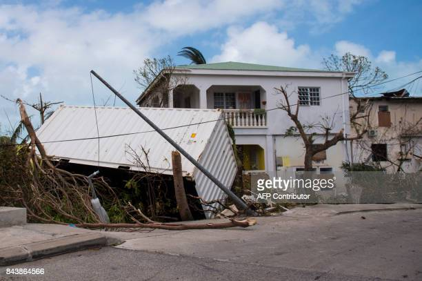 A photo taken on September 7 shows damage on the French Carribean island of SaintMartin after the passage of Hurricane Irma France the Netherlands...