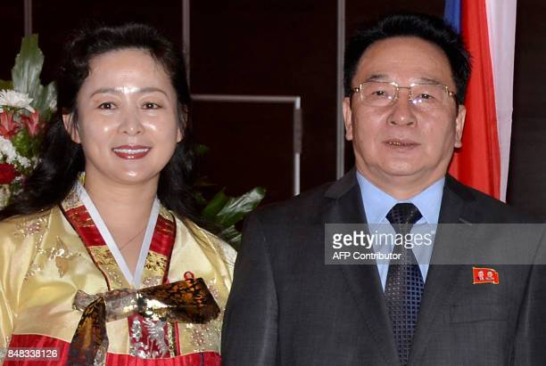 A photo taken on September 7 shows Su Shan the ambassador of the Republic of North Korea in Kuwait and his wife attending a reception ceremony in...