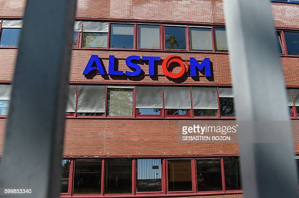 A photo taken on September 7 shows the logo of the French power and transport engineering company Alstom in Belfort French rail transport...