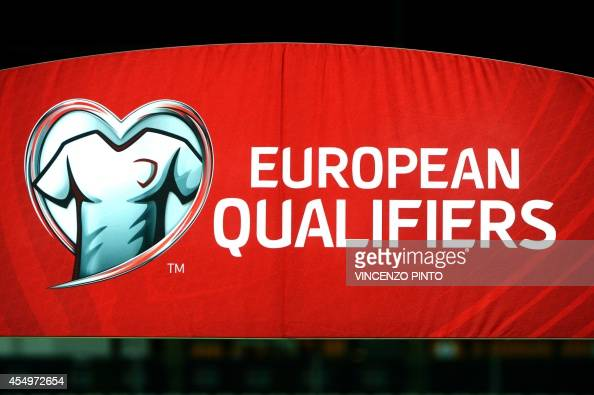 A photo taken on September 8 2014 shows the UEFA qualifiers logo before a UEFA Euro 2016 Group E qualifying football match between San Marino and...