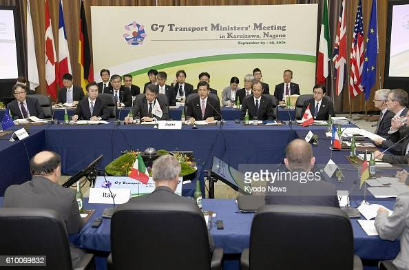 Photo taken Sept 24 shows a joint meeting of transport ministers from the Group of Seven economies and senior officials of global automakers in the...