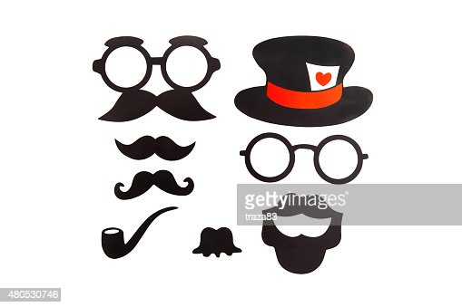 Photobooth Birthday and Party Set - glasses, hats, crowns, masks : Stock Photo