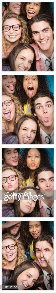 Photobooth strip of friends posing together : Stock Photo