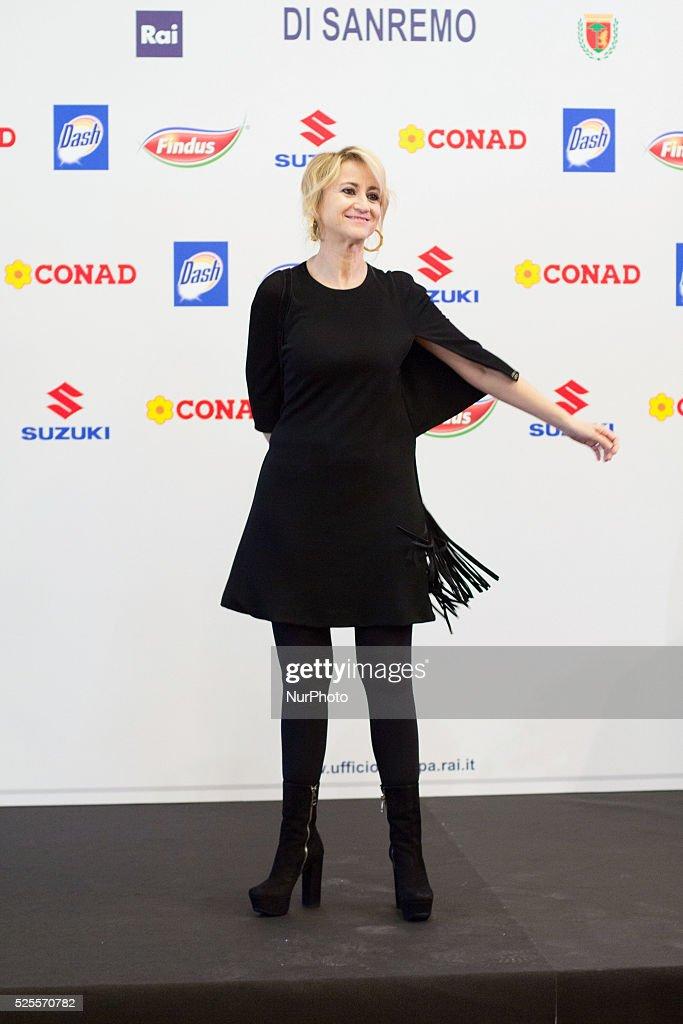 Photocall before of Press Conference of 64th Sanremo Italian Music Festival in Sanremo on February 17 2014 In photo Luciana Littizzetto