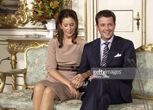 Photocall In The Garden Hall Of Fredensborg Palace To Celebrate Crown Prince Frederik Of Denmark Mary Donaldson Officially Announcing Their Engagement