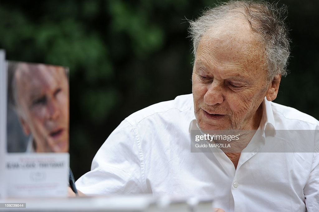 Photocall of the film 'Amour', Palme d'Or at the 2012 Cannes film festival, with french actor <a gi-track='captionPersonalityLinkClicked' href=/galleries/search?phrase=Jean-Louis+Trintignant&family=editorial&specificpeople=1822183 ng-click='$event.stopPropagation()'>Jean-Louis Trintignant</a> on October 09, 2012 in Rome, Italy.