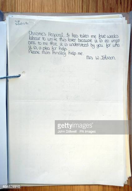 A photocopy of a letter from Winnie Johnson the mother of moors murder victim Keith Bennett to Myra Hindley asking for information to find his body...