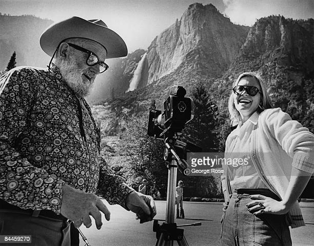 Photograhy icon Ansel Adams is seen here teaching Susan Ford President Gerald Ford's daughter photography in this 1973 Yosemite California photo near...