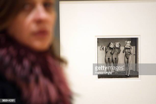 A photograph by Francesca Woodman is shown at the Galleria Nazionale D'Arte Moderna during the opening 'Donna Avanguardia Femminista Negli Anni '70'...