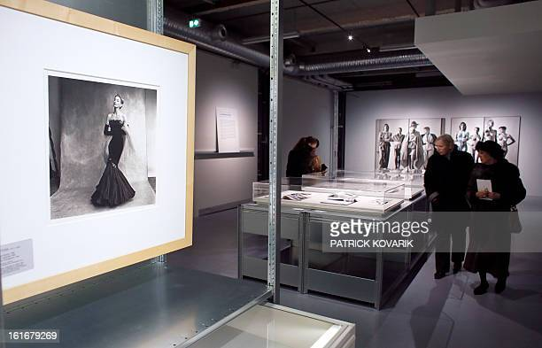 A photograph by Irving Penn is displayed during the exhibition 'Mannequin le Corps de la Mode' at the cite de la mode fashion museum in Paris on...