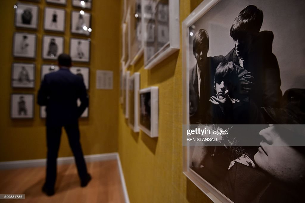 A photograph by Peter Laurie entitled 'The Beatle' 1964 is seen as part of the 'Vogue100 a Century of Style' exhibition at the National Portrait Galley in central London on February 10, 2016. / AFP / BEN STANSALL / RESTRICTED TO EDITORIAL USE - MANDATORY MENTION OF THE ARTIST UPON PUBLICATION - TO ILLUSTRATE THE EVENT AS SPECIFIED IN THE CAPTION