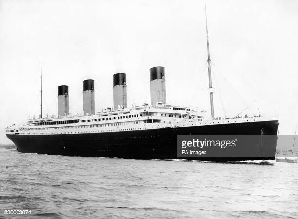 A photograph c1912 of the 'unsinkable' fourfunnelled ship the RMS Titanic Part of the White Star Line Titanic sank off Newfoundland on her maiden...