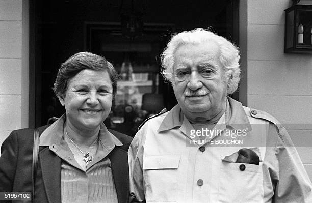 photograph dated 28 September 1985 of Brazilian author Jorge Amado with his wife Zellia Gattai at the 'htel de l'Abbaye' in Paris AFP PHOTO PHILIPPE...