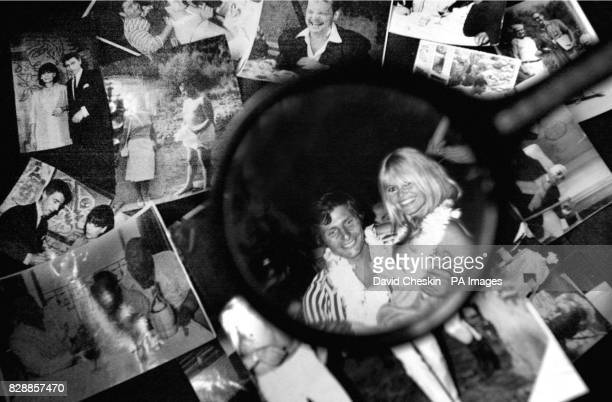 A photograph is viewed through glasses amongst an archive of stage and screen stars showing Brigitte Bardot and Jaques Charles in Edinburgh The...