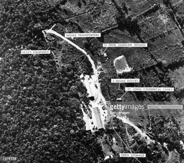 A photograph of a ballistic missile base in Cuba was used as evidence with which US President John F Kennedy ordered a naval blockade of Cuba during...
