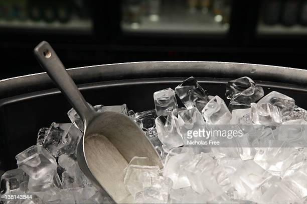 A photograph of a bucket of ice with a trowel