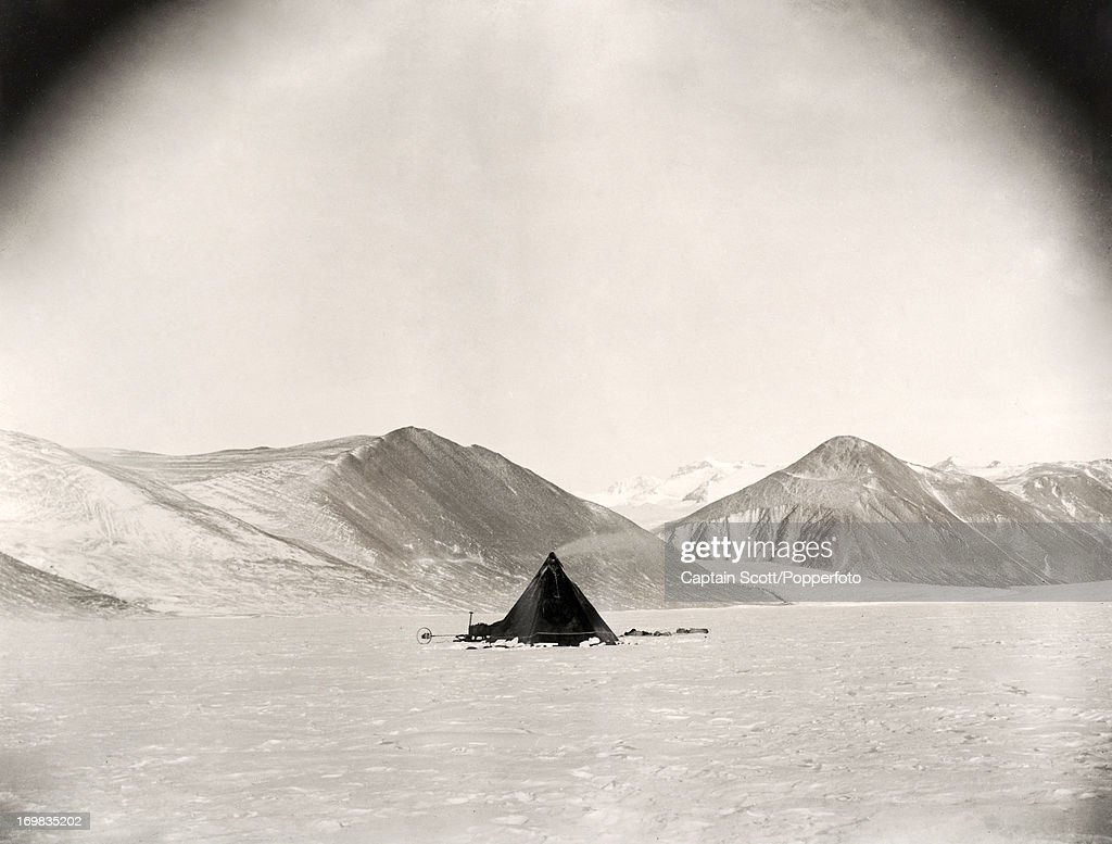 A photograph of a camp on the Ferrar Glacier taken during the last, tragic voyage to Antarctica by Captain Robert Falcon Scott, circa September 1911. Scott was tutored by Herbert Ponting, the renowned photographer who was the camera artist to the expedition, which enabled Scott to take his own memorable pictures before perishing on his return from the South Pole on or after 29th March 1912.
