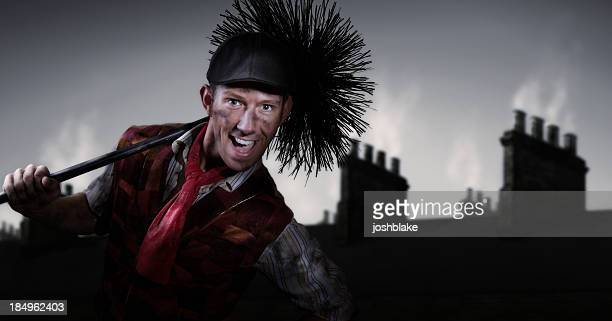 Photograph of a chimney sweep smiling