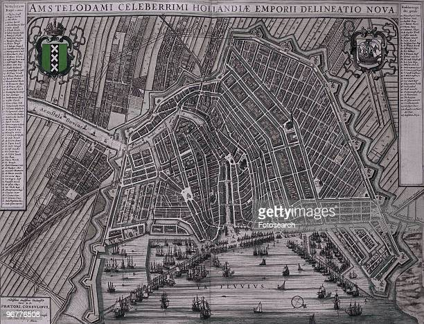 A Photograph of a Map of Amsterdam by Johannes Blaeu circa 1652