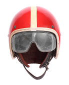 Retro motorcycle helmet with goggles on a white background.