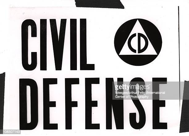 Photograph of a sign that reads 'Civil Defense' New York 1944 Photo by Weegee/International Center of Photography/Getty Images