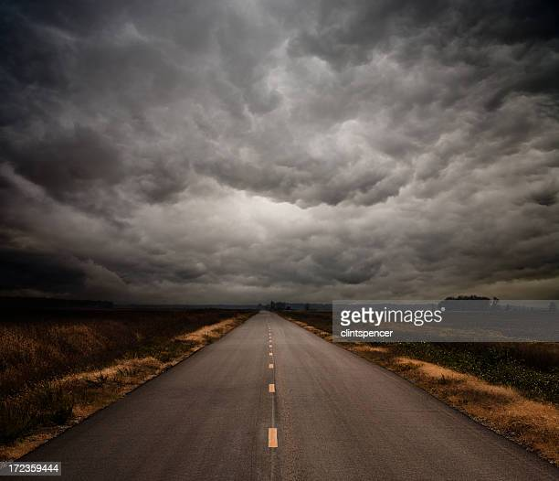 Photograph of a straight road on a cloudy day