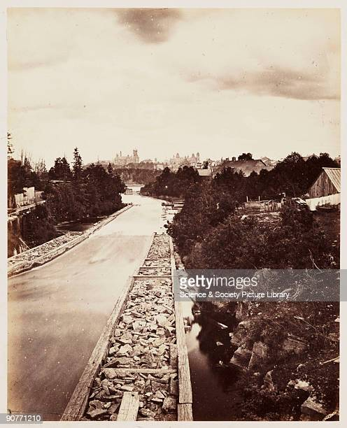 A photograph of a timber slide on the Ottawa River taken by William McFarlane Notman in 1860 during the Royal Visit to Canada of Albert Prince of...