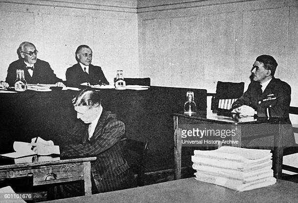 Photograph of Air Commodore Sir Frank Whittle inventor of the turbojet engine at a sitting of the Royal Commission on Awards to Inventors