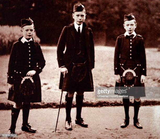 Photograph of Albert Frederick Arthur George Prince Henry Duke of Gloucester and Prince George Duke of Kent at Balmoral Castle Scotland Dated 20th...