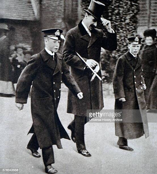 Photograph of Alexander Cambridge 1st Earl of Athlone walking with his nephews Prince Albert Frederick Arthur George and Prince George Duke of Kent...