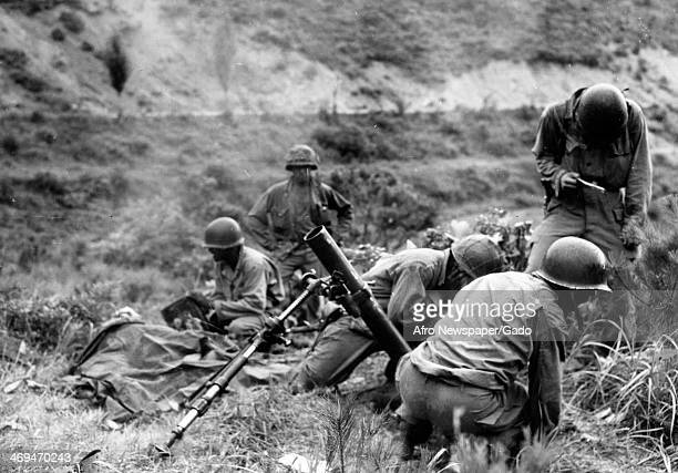 A photograph of an American mortar crew in action during the Korean War Korea July 14 1950