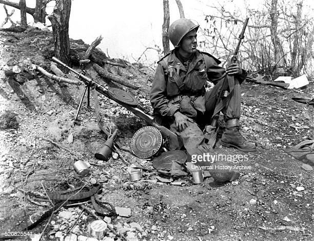 Photograph of an American Soldier resting taken during the Korean War Dated 1952