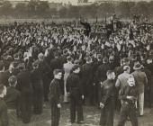 A photograph of British Union of Fascists supporters dressed in their Blackshirt uniform giving the the fascist salute to their leader Sir Oswald...