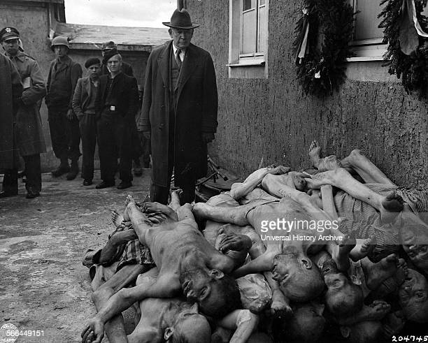 Photograph of Buchenwald concentration camp A German Nazi concentration camp established on the Ettersberg Dated 1945