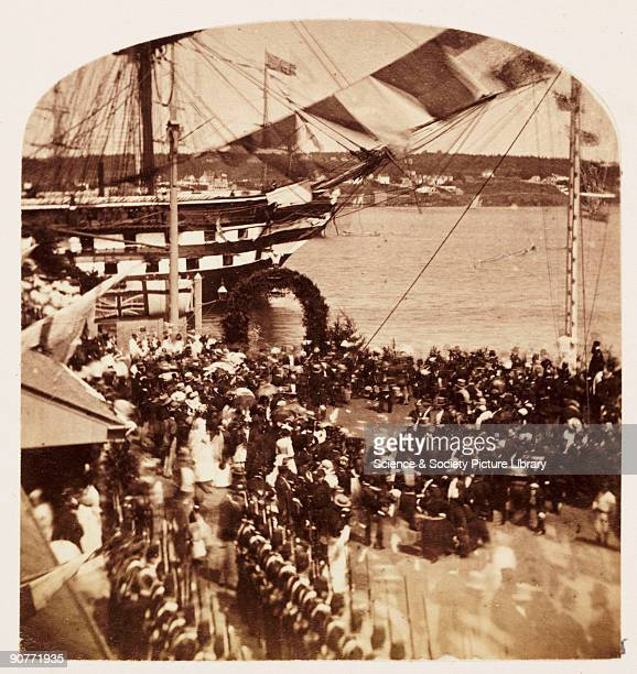 A photograph of crowds gathered for the arrival of the ship carrying Albert Prince of Wales taken by William McFarlane Notman in 1860 during the...